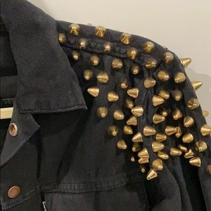 Levis Black Jean Jacket with Gold Studded Shoulder
